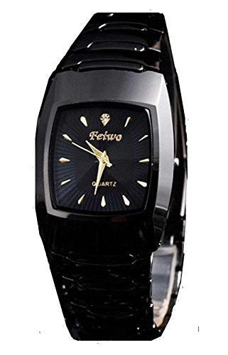 Feiwo Black Metal Watch / Black Rectangular Face w/ Gold and Crystal - Basket HIll Watches & Gifts