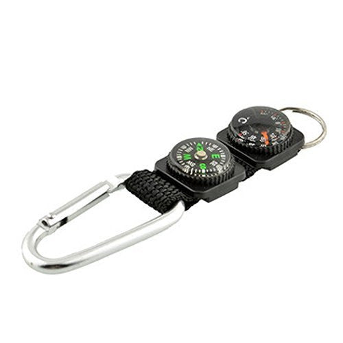 Sports Men Key Ring with Carabiner, Compass and European Thermometer - Basket HIll Watches & Gifts