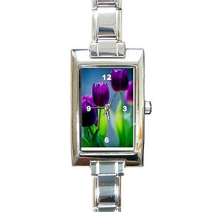 Easter Purple Tulips(Flowers) on a Womens Rectangular Silver Italian Charm Watch.. Think Small Wrist