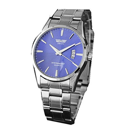 Swidu Mens Blue Face Silver Sports Watch w/ Date - Basket HIll Watches & Gifts