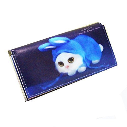 Adorable Cat in Blue Bunny Ears Hat on Snap Wallet (saying) - Basket HIll Watches & Gifts
