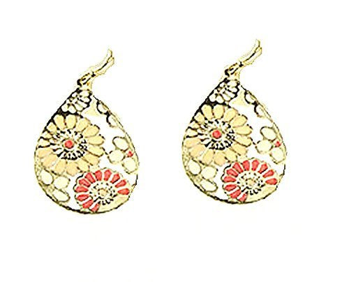 Basket Hill, Black & White Flowers or Pink and Yellow on Tear Shaped Dangle Earrings - Basket HIll Watches & Gifts