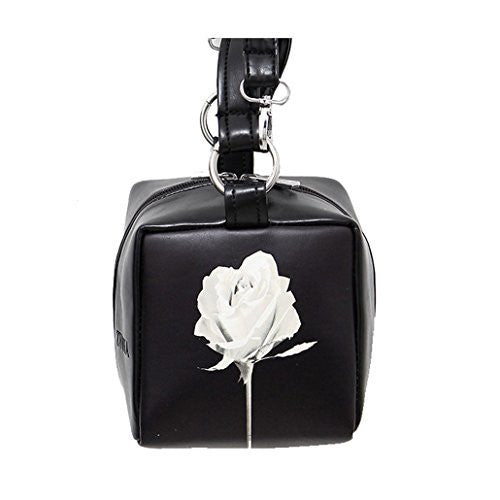Unique Square Black Leather Purse w/ White Rose, Hand or Shoulder Bag - Basket HIll Watches & Gifts