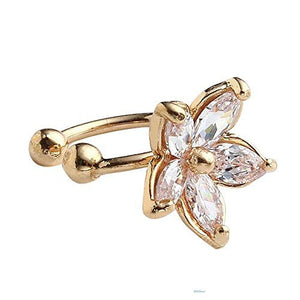 Basket Hill Watches and Gifts Gold Tone, CZ Flower Cuff Earring (1)-Adjustable - Basket HIll Watches & Gifts