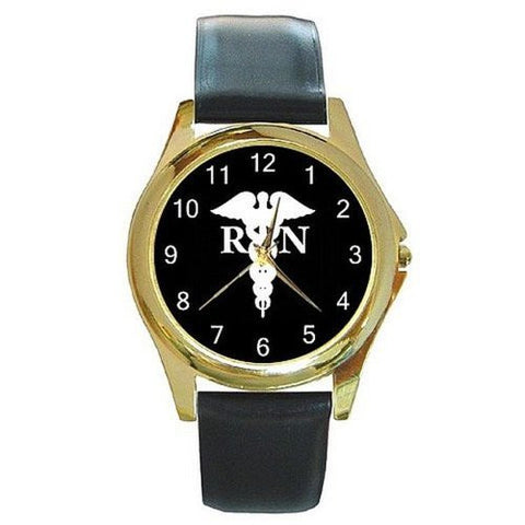 RN Nurse Caduseus on a Gold Tone Watch with Leather Band - Basket HIll Watches & Gifts