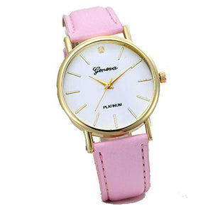 Geneva White Face Gold Round Watch with Pink Leather Band