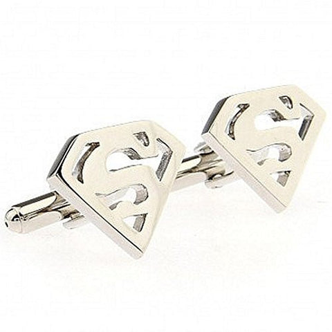 Basket Hill ,DC Comics Superman Logo in Silver Tone Cufflinks - Basket HIll Watches & Gifts