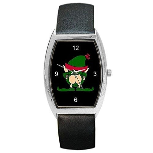 Christmas Naughty Elf on a Womens or Girl Barrel Watch with Leather Band - Basket HIll Watches & Gifts