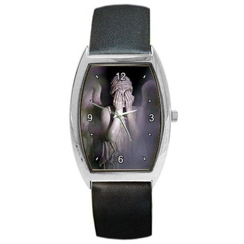 "Dr Who "" Weeping Angel "" on a Mens or Womens Barrel Watch with Leather Band - Basket HIll Watches & Gifts"