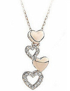 Basket Hill,  18k Gold Plated and  Row of CZ Heart Womens Necklace - Basket HIll Watches & Gifts