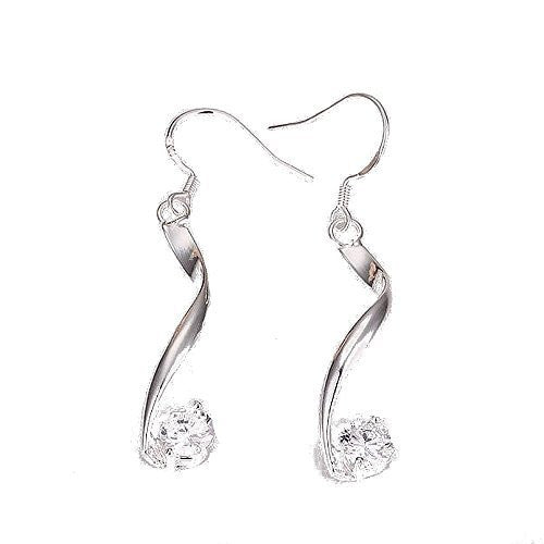 Basket Hill Watches and Gifts Silver Plated, Crystal Half Twist Dangle Hook Earrings - Basket HIll Watches & Gifts