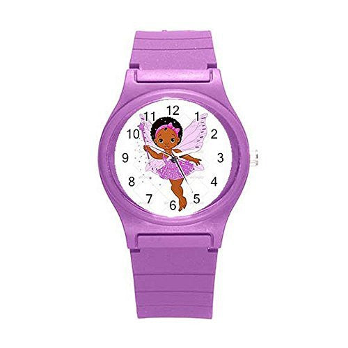 "Ethnic /African American or Hispanic ""Fairy"" Girls Watch with Purple Plastic Watch Band"