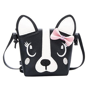 Adorable Black and White Girls Puppy Purse w/ Bow and Snap Closure