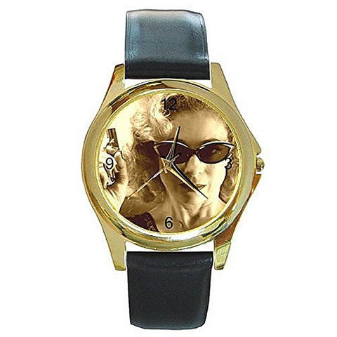 "Dr Who "" River "" (in Sepia Tones) on a Womens Gold Tone Watch with Leather Band - Basket HIll Watches & Gifts"
