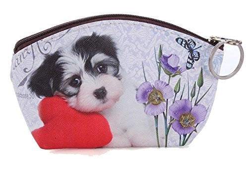 Black and White Puppy with Red Flower on Girls or Womens Coin Purse - Basket HIll Watches & Gifts