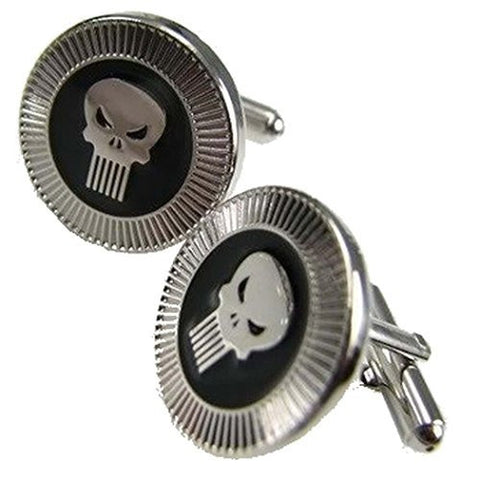 "Basket Hill ,Marvel Comics "" Punisher"" Wedding Silver and Black Tone Cufflinks - Basket HIll Watches & Gifts"