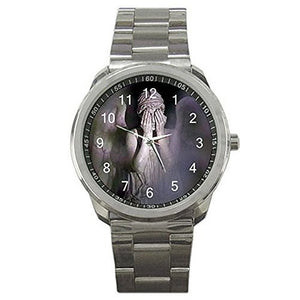"Dr Who ""Weeping Angel"" on a Mens or Womens Silver Sports Watch - Basket HIll Watches & Gifts"