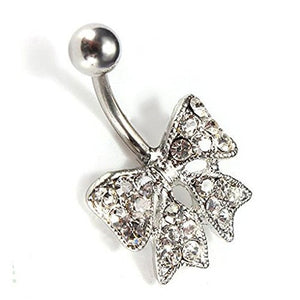 Sparkling Clear Crystal Bow Belly Ring - Basket HIll Watches & Gifts