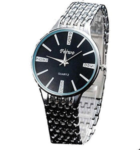 Feiwo Mens Dress Silver Sports Watch w/ Black Face and 12 Crystals - Basket HIll Watches & Gifts