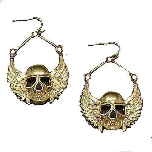 Basket Hill Watches and Gifts , Gold Tone Winged SKULLS Dangle Earrings - Basket HIll Watches & Gifts