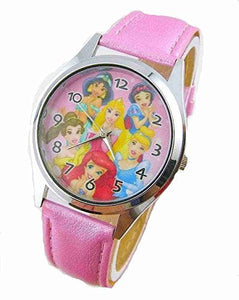 Disney Princesses (6 Princesses) on a Girls Pink Leather Wrist Watch