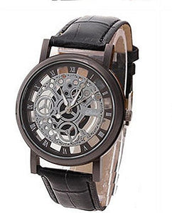 Mens Black and Silver Mechanical Watch w/ Black Leather Band