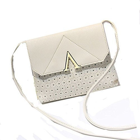 Womens / Girls Spring White and Aqua Snap Closure Purse with Geometric Pattern