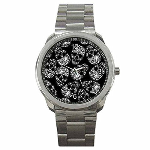 Goth, Punk Field of Skulls on a Mens or Womens Silver Sports Watch - Basket HIll Watches & Gifts