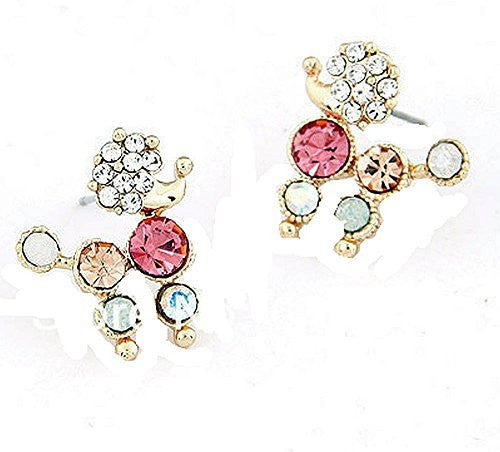 Basket Hill , Girls Colorful Crystal POODLE Post Earrings - Basket HIll Watches & Gifts
