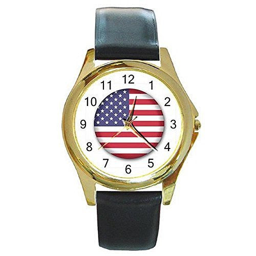 American Flag for Men or Women Gold Tone Watch with Leather Band - Basket HIll Watches & Gifts