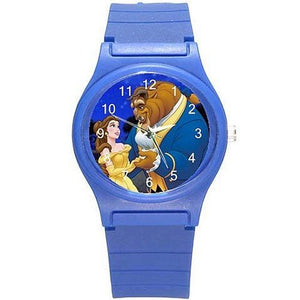 Beauty and the Beast on a Girls (Royal) Blue Plastic Watch & Band - Basket HIll Watches & Gifts