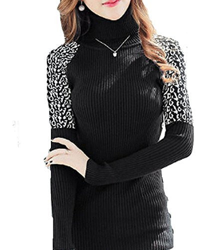 Womens Ribbed Turtleneck Sweater with Leopard Shoulders and Buttons