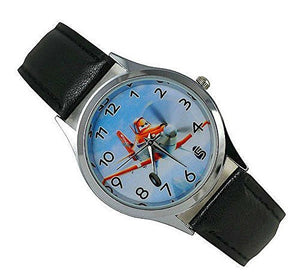 "Pixar Planes ""Dusty Crophopper "" on a Boys Black Leather Wrist Watch - Basket HIll Watches & Gifts"