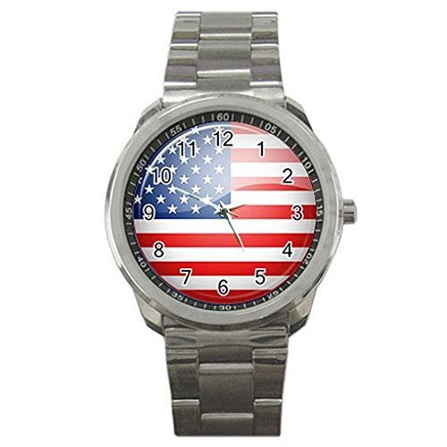 Vintage American Flag on a Mens or Womens Silver Sports Watch