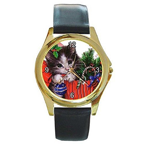 Christmas Kitten Gift Bag on a Womens or Girls Gold Tone Watch with Leather Band - Basket HIll Watches & Gifts
