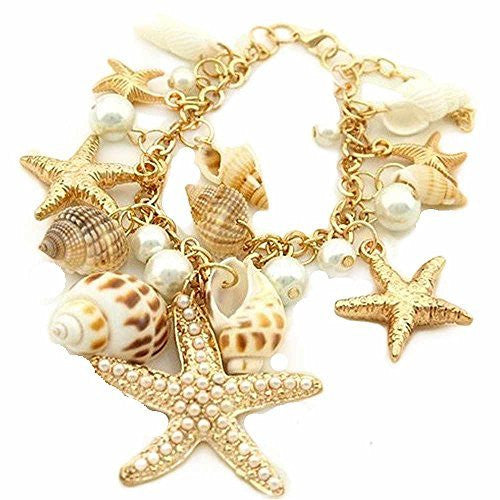 Basket Hill Watches and Gifts, Gold Tone Sea Shell and Pearl Charm Bracelet - Basket HIll Watches & Gifts