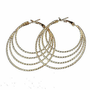 Basket Hill , Gold Tone, 4 Circle Sparkling 2.5 inch Hoop Dangle Earrings - Basket HIll Watches & Gifts