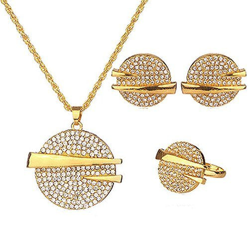 Basket Hill, 18K Gold Plated African Statement Set w/ Crystals , Necklace, Earrings, Ring - Basket HIll Watches & Gifts