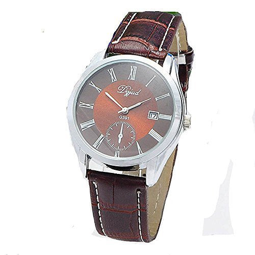Mens Watch (Brown Face) with w/ Date and Brown Leather Band - Basket HIll Watches & Gifts