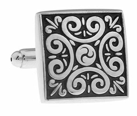 Basket Hill ,Square Silver and Black Swirl Mens Cufflinks - Basket HIll Watches & Gifts