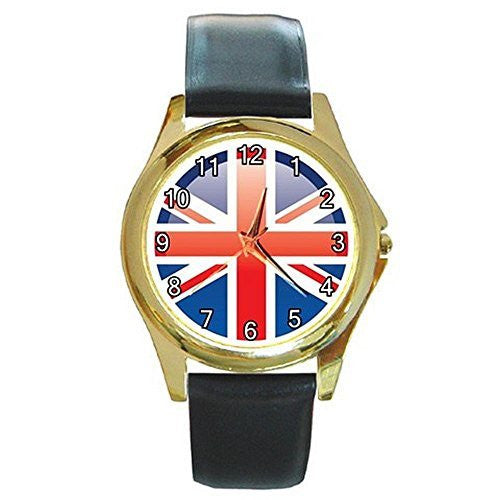 British Flag (Stylized) on a Womens or Mens Gold Tone Watch with Leather Band - Basket HIll Watches & Gifts