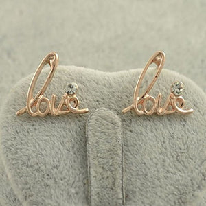 "Gold Tone, Crystal ""LOVE"" Women / Girls Post Earrings - Basket HIll Watches & Gifts"