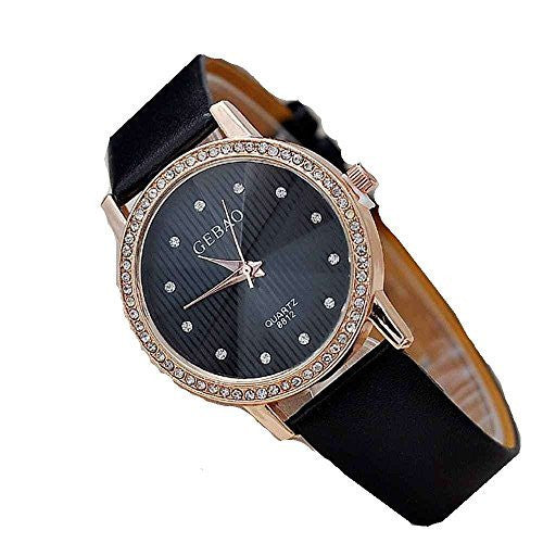 Tuogi Womens Rose Gold Tone, Black Face Stripes and Rhinestone Watch with Bla... - Basket HIll Watches & Gifts