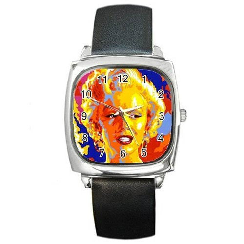 Marilyn Monroe ('60 Pop Art Style) on a Silver Square Watch with Leather Band