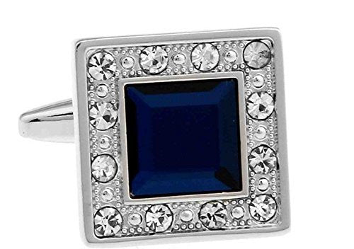 Basket Hill ,Bright Blue and Clear Crystals on Silver Square Cufflinks - Basket HIll Watches & Gifts