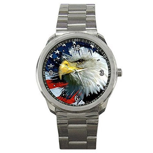 American Eagle and Flag on a Mens or Womens Silver Sports Watch - Basket HIll Watches & Gifts