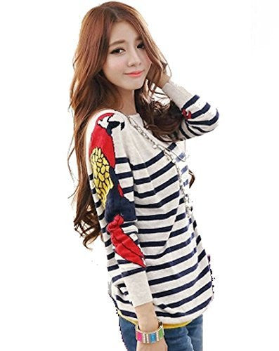 Womens (Wool Blend) Striped Sweater with Colorful 'Parrot' on Sleeves