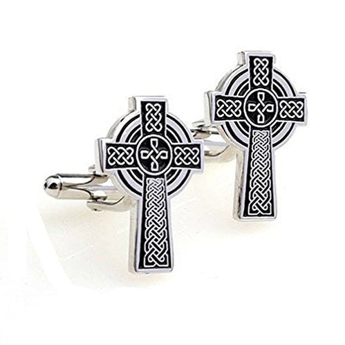 Basket Hill ,Celtic Cross, Cross in Silver Tone Cufflinks - Basket HIll Watches & Gifts