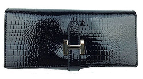 Black Patent Leather Crocodile Design Wallet with Zipper (Gold Accent) - Basket HIll Watches & Gifts
