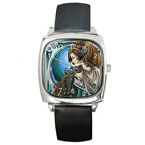 Art Nouveau Lady w/ Blue Background on a Womens Silver Square Watch with Leat... - Basket HIll Watches & Gifts